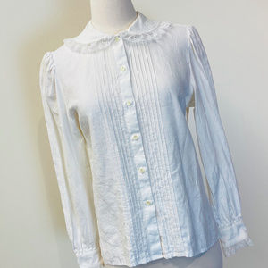 vintage white linen button down blouse